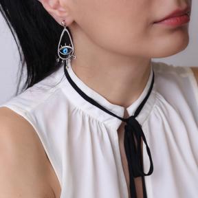 Drop Hollow Shape Evil Eye Stud Earrings Wholesale 925 Silver Jewelry