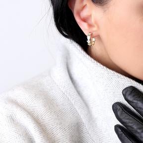 Shiny Star Push Back Ø17mm Hoop Earrings Turkish Wholesale Silver Jewelry