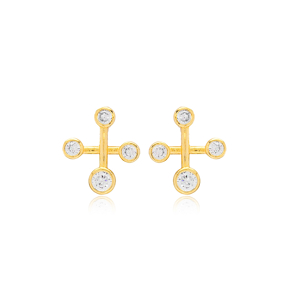 Zircon  Cross Constellation Earrings Turkish 925 Silver Sterling Jewelry