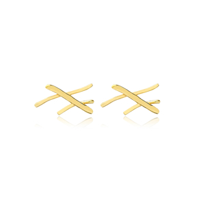 Crossed Stick Stud Earrings Wholesale Turkish 925 Silver Sterling Jewelry