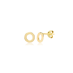 Tiny Hollow Stud Earrings Wholesale Turkish 925 Silver Sterling Jewelry