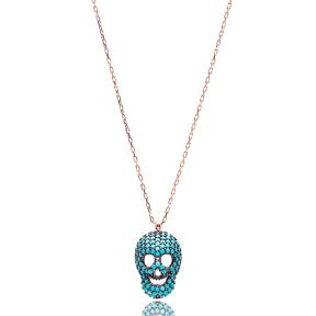 Nano Turquoise Skull Design Turkish Wholesale Silver Pendant