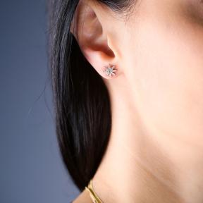 Pole Star Design Earrings Turkish Wholesale Handmade 925 Sterling Silver Jewelry