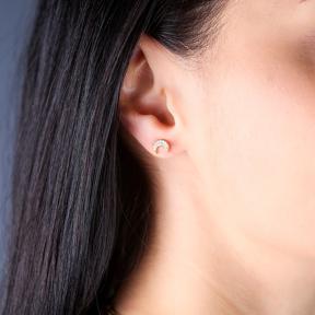 CZ Stone Minimal Moon Silver Earrings Wholesale 925 Sterling Silver Jewelry
