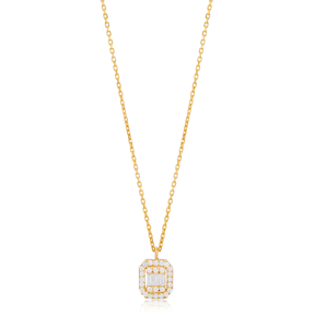 Elegant Baguette Charm Design Pendant Necklace Turkish 925 Sterling Silver Jewelry