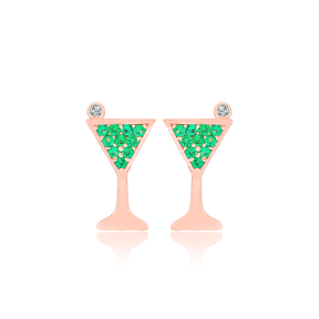 Cocktail Glass Shape Emerald Stone Stud Earrings Turkish Wholesale 925 Sterling Silver Jewelry