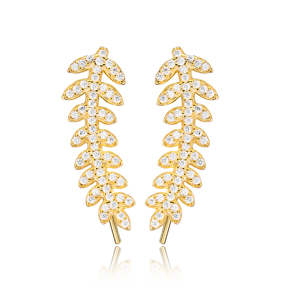 Fern Design Ear Cuff Turkish Wholesale Handcrafted Silver Earring Jewelry