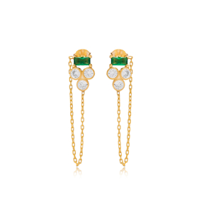 Three Zircon and Green Stone Threader Earring
