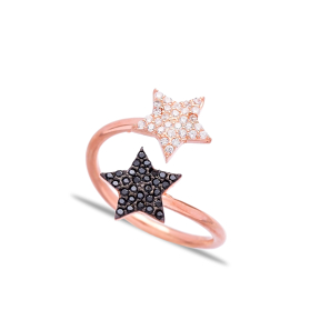 Double Side Star Wrap Ring Turkish Wholesale Handcrafted Silver Jewelry