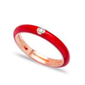 Fashion Zircon Stone Red Enamel Ring Wholesale 925 Sterling Silver Jewelry