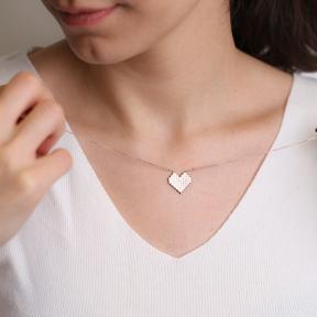 Pixel Heart Charm Design Pendant Turkish Handmade 925 Sterling Silver Jewelry