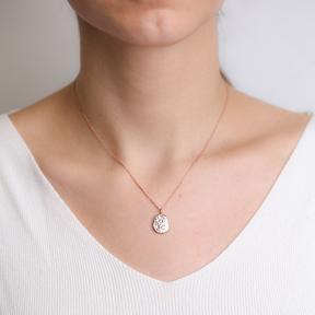 Dainty Hammered CZ Pendant Turkish Handmade 925 Sterling Silver Jewelry