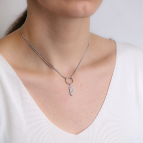 Feather Design Hollow Choker Necklace 925 Sterling Silver Turkish Jewelry