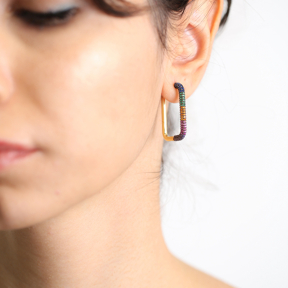 Colorful Zircon Earrings Wholesale Handmade 925 Sterling Silver Jewelry