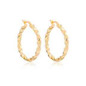 Trendy Twisted 30 mm Hoop Earrings 925 Sterling Silver Jewelry