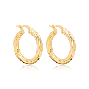 Chic Twisted 29 mm Hoop Earrings 925 Sterling Silver Jewelry