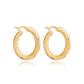 Curled 29 mm Hoop Earrings Wholesale 925 Sterling Silver Jewelry