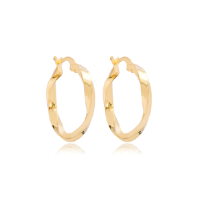Elegant 27 mm Hoop Earrings 925 Sterling Silver Jewelry
