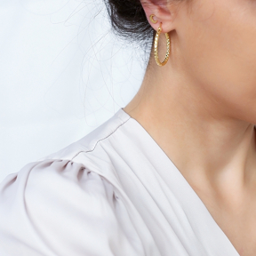 Geometric Design Ø30 mm Hoop Earrings 925 Sterling Silver Jewelry