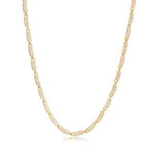 Zircon Charm Necklace Chain Turkish 925 Sterling Silver