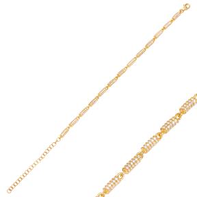 Zircon Charm Bracelet Chain Turkish 925 Sterling Silver