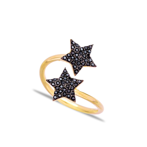 Double Side Black Stone Star Wrap Ring Turkish Silver Jewelry