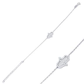 Hamsa Design Bracelet Wholesale 925 Sterling Silver Jewelry