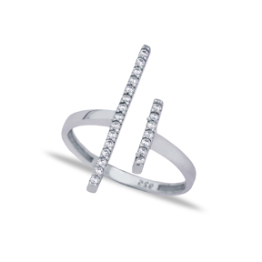 Micro Pave Zircon Bar Ring 925 Sterling Silver Jewelry