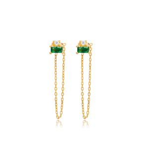 Chic Emerald Charm Chain Earrings 925 Sterling Silver Jewelry