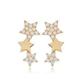 Star Charm Design Stud Earrings Turkish Wholesale 925 Sterling Silver Jewelry