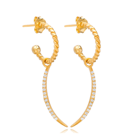 Elegant Moon Charm Stud Earrings Wholesale Handmade Turkish 925 Silver Sterling Jewelry