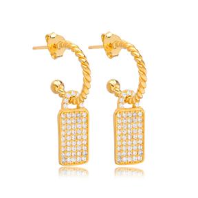 Rectangle Shape Stud Earrings Wholesale Turkish 925 Silver Sterling Jewelry