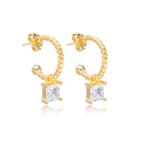 Square Zircon Shape Charm Stud Earrings Wholesale Turkish 925 Silver Sterling Jewelry