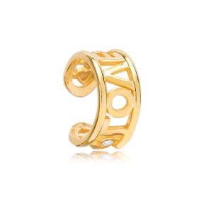 Love Design Cartilage Single Earring Turkish 925 Silver Sterling Jewelry