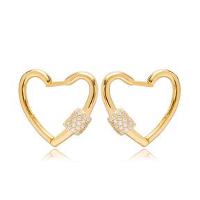 Heart Design Hoop Earrings Turkish 925 Sterling Silver Jewelry