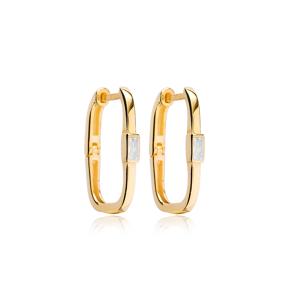 Dainty Rectangle Design Trendy Earrings Turkish 925 Sterling Silver Jewelry