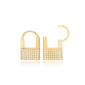 Padlock Design Trendy Charm Earrings Wholesale Turkish 925 Sterling Silver Jewelry