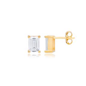 Minimalist Zircon Stone Rectangle Design Stud Earrings Turkish 925 Sterling Silver Jewelry
