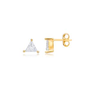 Geometric Triangle Shape Zircon Stud Earrings Turkish 925 Sterling Silver Jewelry