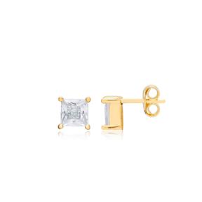 Minimalist Square Shape Zircon Stud Earrings Turkish 925 Sterling Silver Jewelry