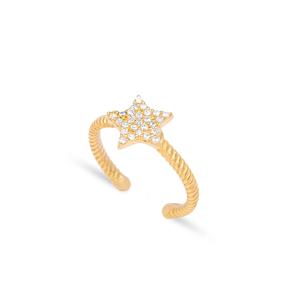Star Design Zircon Minimal Adjustable Ring Wholesale 925 Silver Sterling Jewelry