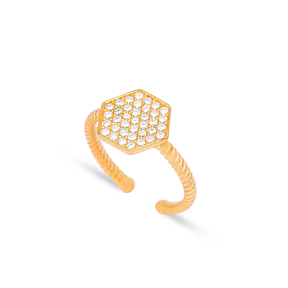 Hexagon Design CZ Stone Geometric Shape Adjustable Ring 925 Silver Sterling Jewelry