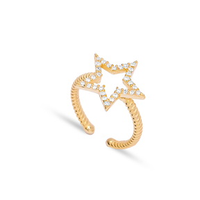 Hollow Star Shape Adjustable Ring Turkish Wholesale 925 Silver Sterling Jewelry