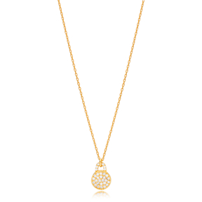 Round Design Minimalist Necklace Pendant Turkish Handmade 925 Sterling Silver Jewelry