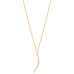 Moon Design CZ Stone Minimalist Necklace Pendant Turkish Handmade 925 Sterling Silver Jewelry