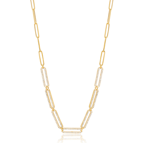 Rectangle Zircon Charm Chain Necklace Turkish 925 Sterling Silver Jewellery