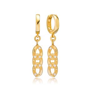 Rope Design Charm Zircon Stone Earring Turkish Handmade 925 Sterling Silver Jewelry
