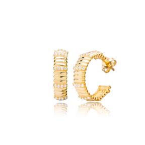 Hoop Design Dainty Zircon Stone Earrings Turkish 925 Sterling Silver Jewelry