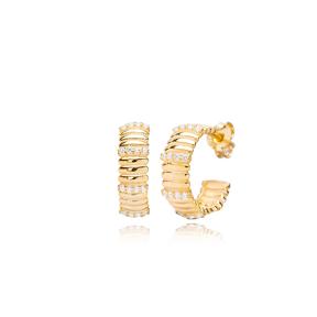 Dainty Hoop Design Zircon Stone Minimalist Earrings 925 Sterling Silver Jewelry