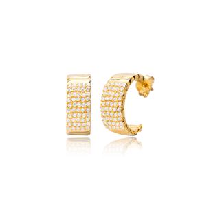 New Trendy Hoop Design Zircon Stone Earrings 925 Sterling Silver Jewelry